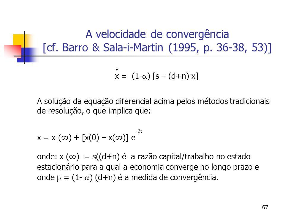 A velocidade de convergência [cf. Barro & Sala-i-Martin (1995, p